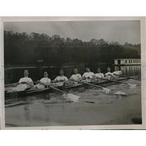 1923 Press Photo Cambridge Rowing Team Practices on the River Thames - nes19563
