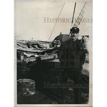1928 Press Photo Capt Wilkens On Board SS Hobby For Arctic Expedition