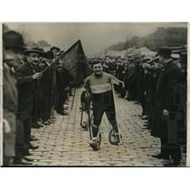 1927 Press Photo Charles Samuel Winning Paticycle Race Paris, France