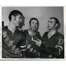 1970 Press Photo New York Rangers Jack Egers, Ron Stewart, Dave Balon
