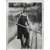 1934 Media Photo Whitney Alberts, Log-Burler King, To Defend Title