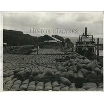1933 Press Photo Thousands Of Sacks Of Wheat Ready For Shipment To Orient
