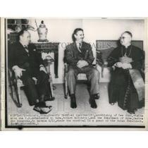 1949 Press Photo Havana Cuba Cardinal Spellman, US Amb Rbt Butler, Socarras