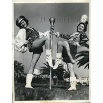 1937 Press Photo Macine Tolloss & Reita Phillis LA Calif majorettes