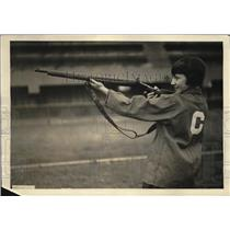 1922 Press Photo Helen Stokes of Central High School Girl's Rifle Team Shooting