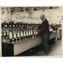 1929 Press Photo JR Gardner& reeling machines at Bemberg mill plant in TN