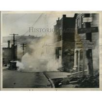 1931 Press Photo Tear Gas Bomb Exploding During Riot In Bentlyville Pennsylvania