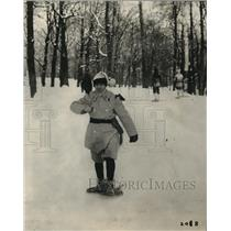 1923 Press Photo Snow shoers in the woods in Canada for sport in winter