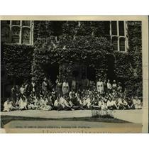 1921 Press Photo Bryn Mawr College & student at school