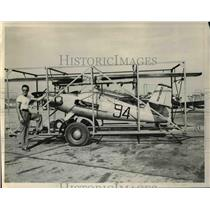 1946 Press Photo Al Foss of Rosemead Calif & his plane on track bed