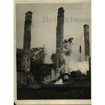 1927 Press Photo Claremont Fire Remains of Structure