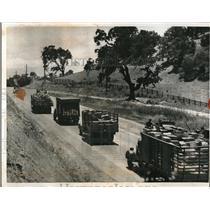 1934 Press Photo Truck Caravan of Emergency Food