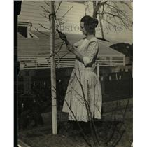 1922 Press Photo A woman caring for a tree in her yard