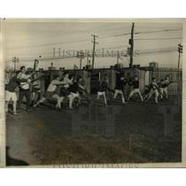 1927 Press Photo Harvard Univ La crosse team at practice
