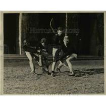 1927 Press Photo Players at lacrosse field in action