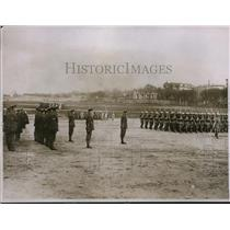 1928 Press Photo French Cadets Marching Past The Visitors At Ecole Speciale Mili