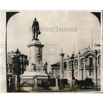 1927 Press Photo Prace de Batalha and Pedro V Statue in Town of Oporto, Portugal