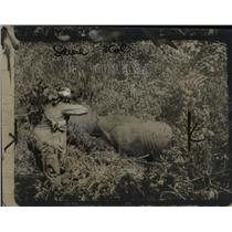 1922 Press Photo Hunter Shooting Rhinoceros with Gun in Jungle