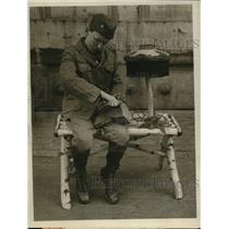 1926 Press Photo Boston Boy Scout Carving Swamp Birch Wooden Lamp & Bench
