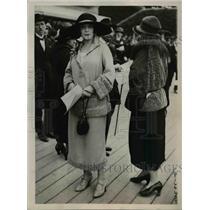 1922 Press Photo Pleated terracotta frock & coat & navy taffetta outfit