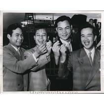 1955 Press Photo Wife hunting trip with Joe Soo, Billy Chow, Fug Check Yen