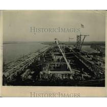1918 Press Photo Atlantic coast shipyard where a reinforced concrete ship under