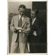 1930 Press Photo Daniel and Edward Dougherty with Charity Sweepstakes Ticket