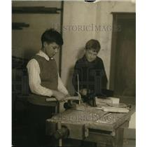 1922 Press Photo Carpenter shop & country school with som boys at work