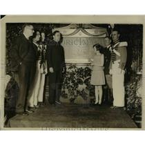 1928 Press Photo Philip Lynch, Peter Hoey, Margaret Lynch at 7th Regiment Armory