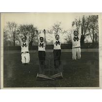 1928 Press Photo Morrish HS NYC cheerleaders Brezner, Waller