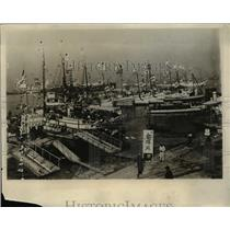 1930 Press Photo Yachts Decorated for Japanese Naval Maneuvers of Kobe
