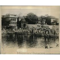 1930 Press Photo Holy bathing place in Godavery river or Hindus at Nasik