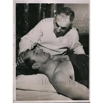 1937 Press Photo Stunt Man James Woods in the hospital after an injury