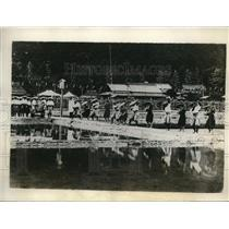 1928 Press Photo Dancers on sacred rice sprouts for Japanese Imperial Coronation