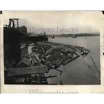 1925 Press Photo Large logs at the Inman Lumber Hills & Fuel Company's plant
