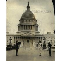 1923 Press Photo Us Military blowing horns in front of the Capitol in Washington