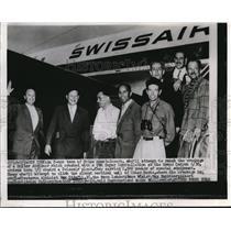 1956 Press Photo The Swiss mountaineers, Max Stamfli, Rene Wisler, Max Hunziker