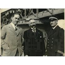 1927 Press Photo B.F. Mahoney, Jean B. Talabot, Lt. Commander Louis Demougeot