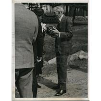 1938 Press Photo Henry Ford Interviewed at Wayside Inn in South Sudbury