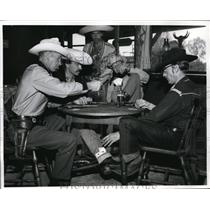 1961 Press Photo Men Playing A Game OF Card In Texas City Saloon