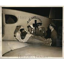1949 Press Photo Air Ambulance Service at Roosevelt Field NY
