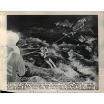 1949 Press Photo James Hurst dangles in water
