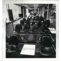 1986 Press Photo United Airlines waiting area at Cleveland Hopkins Int. airport