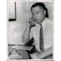 1963 Press Photo James R. Hoffa on phone after learning about indictment