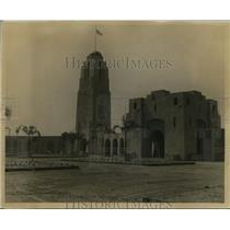 1923 Press Photo Corner of Court of Honor buildings and Aztec Tower.