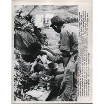 1953 Press Photo Wounded South Korean Soldier Receives Treatment, Vietnam War