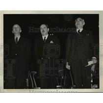 1940 Press Photo Earl Broder, William Z. Foster, Robert Minor at Rally