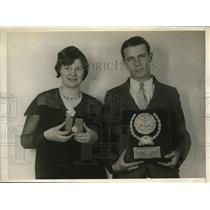 1930 Press Photo James Christie Peirce Spelling champ, Katyryn Rabe Haddon Hgts