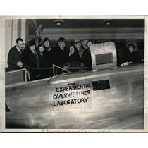1937 Press Photo People Looking Over TWA Flying Experimental Laboratory Plane
