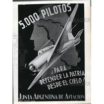 1942 Press Photo Poster issued by Argentina Bureau of Aviation seek enlistment